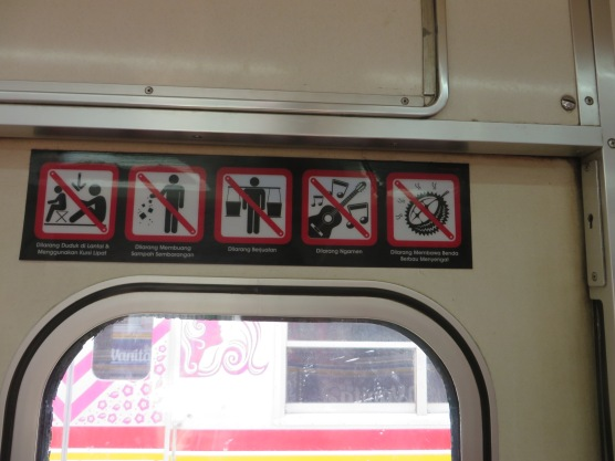 Sign in the train. Don't eat smelly durian!